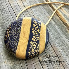 Gold & Black Detailed Cabochon Polymer Clay Pendant