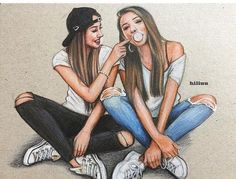 36 Ideas For Clothes Illustration Outfits Art Bff Pics, Bff Pictures, Best Friend Pictures, Friend Photos, Best Friend Sketches, Friends Sketch, Drawings Of Friends, Cute Best Friend Drawings, Drawing Of Best Friends
