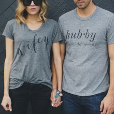 These matching 'wifey' and 'hubby' t shirts by @ilycouture are too cute. There's lots more shoppable pretty products on bridalmusings.com to show off your new 'wifey' status! They'd make perfect gifts for the bride to be/newlyweds too! Awesome photo by @j
