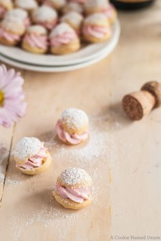 Mini strawberry cream profiteroles