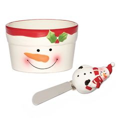 Holiday Snowman Dip Bowl & Spreader set of two by Pfaltzgraff