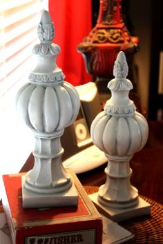 spray painted two gaudy gold finials in ivory--now they're quite lovely. I have some gaudy gold stuff....