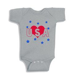 458e56003 Love USA HEATHER personalized baby bodysuit by bodysuitsbynany on Etsy
