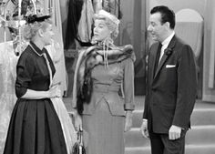 Lucy in 'The Fashion Show' episode with actress Sheila  (Mrs.Gordon) McRae and Don Loper playing themselves. This episode also featured several real life wives of some Hollywood stars such as Mrs William Holden, Mrs Richard  Carlson, and Mrs Dean Martin modeling as themselves