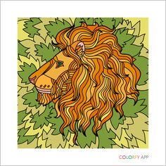 A pretty cool lion Coloring Book App, Coloring Apps, Online Coloring, Adult Coloring, Lion Pictures, Color Pictures, Colorfy App, Lion Art, My Drawings
