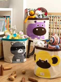 Love these whimsical storage bins for kids!