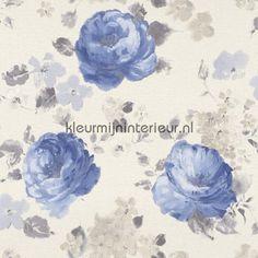 Rozen aquarel blauw behang 448818, Florentine van Rasch