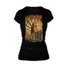 The Hunger Games Girl On Fire Poster Juniors T-Shirt In Black featuring polyvore hunger games shirts
