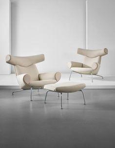 HANS J. WEGNER Pair of 'Ox' lounge armchairs, 1960