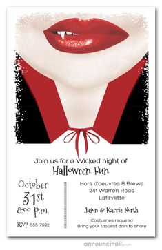 A sinister vampire smile is the perfect design for Halloween costume party invitations or Halloween birthday invitations for creatures and of all ages. Actual Size: x Halloween Costume Party Invitations, Fairy Halloween Costumes, Halloween Crafts, Haunted Halloween, Halloween 2020, Halloween Ideas, Vampire Party, Red Lipsticks, Smile