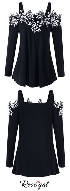 Free shipping worldwide.Embroidered Applique Open Shoulder Top.#tops #openshoulder #fashion#flower