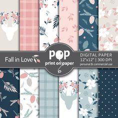 Floral Digital Paper FALL IN LOVE stylish flowers, plaid patterns, romantic pink and blue, fall flowers, deer with flowers, fall pine cones by POPprintonpaper on Etsy https://www.etsy.com/listing/256378682/floral-digital-paper-fall-in-love