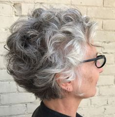 Hairstyle-for-Older-Women-with-Curly-Hair Best Short Haircuts for Women Over 50 afro bangs hair hair styles mujer peinados perm style curly curly Grey Curly Hair, Short Grey Hair, Curly Hair Cuts, Curly Hair Styles, Long Curly, Frizzy Hair, Long Pixie, Edgy Pixie, Curly Perm