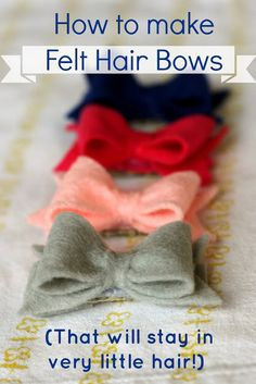 maybe a hair bow station so if they wanted to make a little something, it would be there and we could just tell stories for a bit. CREATE STUDIO: How to Make Felt Hair Bows that Stick! What a great idea to use shelf liner to make it stay! Baby Bows, Baby Headbands, Flower Headbands, Diy Headband, Baby Crafts, Felt Crafts, Felt Flowers, Fabric Flowers, Felt Hair Bows