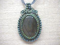 Labradorite pendant, Soutache Necklace, Cabachon, Labradorite Jewellery by KarsJewellery on Etsy