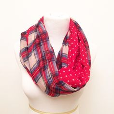Plaid Infinity Scarf This listing is for the price of one scarf! Let me know which one you would like and I will create you a listing// Polka dots + plaid what could be cuter. Perfect for the upcoming holidays// NWOT// Bundle and save, 2 for $25// From left to right: Dark Red, Khaki, Red, Green, Black, Orange Accessories Scarves & Wraps