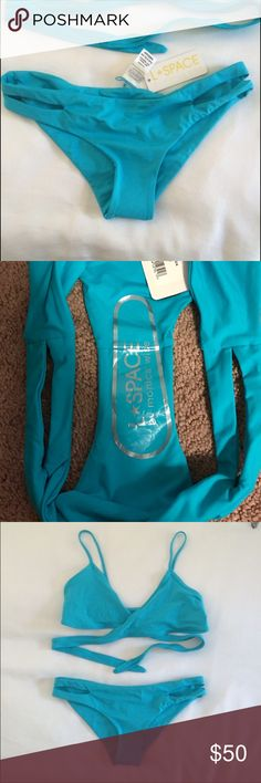 """L*Space """"Estella"""" Bottoms Turquoise Estella bottoms, NWT! Still have hypoallergenic lining.... fit true to size but are snug enough to fit a S, extremely thick material and super comfy! l*space Swim Bikinis"""