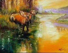 Art: MOOSE AT WATERS EDGE by Artist Marcia Baldwin