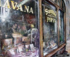noenga.com :(c) TOMAS CASTAÑO (SPAIN) :: Tobacconist London :: Landschap : Realistisch : Schilderij : Olie :