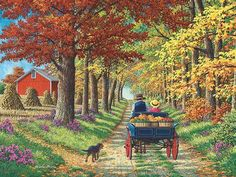 This must be just about the most exquisite painting yet ^_^! Shady Lane by John Sloane On a glorious autumn day, a farmer takes his daughter and fresh produce off to the markets along a heavily treed country lane lined with colours of russet red and g…olden brown, past the haystacks and the pretty wildflowers growing along the way.