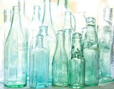 antique bottles no 3 sunlight through blue green by leapinggazelle, $25.00