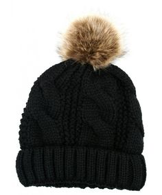 3714bf27f9b Women s Thick Cable Knit Beanie Hat With Soft Fur Pom Pom Black CA126H24C2X
