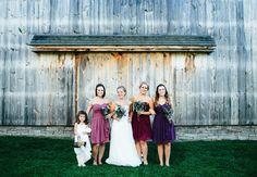 Shades of Purple Mismatched Bridesmaid Dresses   Lisa Woods Photography   Blog.TheKnot.com