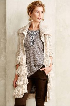 great fringed long sweater outfit - anthro style
