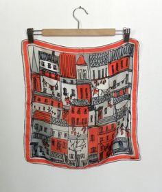 Early Vera Neumann Scarf - Rare and published Silk Scarf - Palermo Italy red, black, grey Parachute Silk  Patent Pending - alessandrasvintage