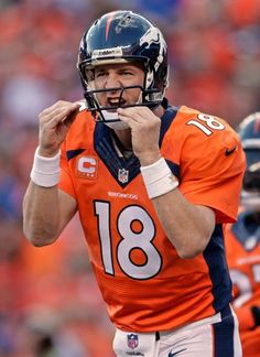 Denver Broncos quarterback Peyton Manning, Telling the coach he wants a sub sandwich when the game is over:)