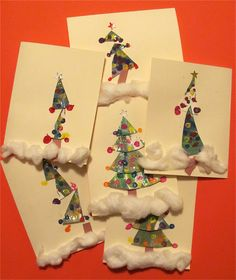 Spin art Christmas tree card