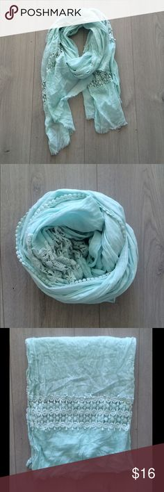 Anthropologie Scarf Large teal embroidered scarf, never really worn! Super soft, could also be worn as a wrap. Anthropologie Accessories Scarves & Wraps