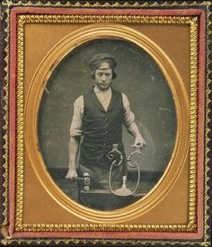 ca. 1840-60, [daguerreotype occupational portrait of an iron smith with his tools]    via Harvard University's Houghton Library, Department of Printing and Graphic Art, Harrison D. Horblit Collection of Early Photography