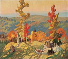 "Franklin Carmichael – was a Canadian artist. He was the youngest original member of the Group of Seven. ""Autumn in the Northland"" Tom Thomson, Emily Carr, Canada Landscape, Landscape Art, Landscape Paintings, Landscape Design, Canadian Painters, Canadian Artists, Group Of Seven Artists"