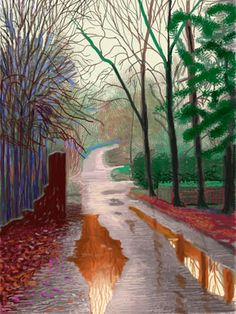 David Hockney, A Bigger Picture. Love the reflections in the water. beautiful painting by David Hockney David Hockney Ipad, David Hockney Art, David Hockney Paintings, David Hockney Landscapes, Landscape Art, Landscape Paintings, Pop Art Movement, Kunst Online, Ipad Art