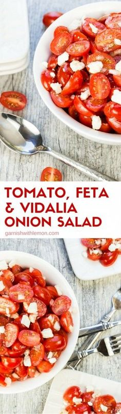 This fresh Tomato, Feta and Vidalia Onion Salad is the perfect easy side dish for any BBQ or potluck!: