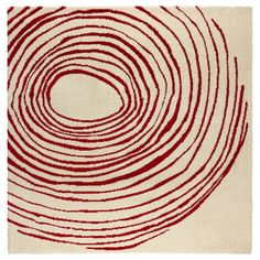 IKEA EIVOR CIRKEL Rug, high pile White/red cm The dense, thick pile dampens sound and provides a soft surface to walk on.