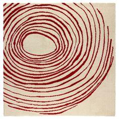 EIVOR CIRKEL Rug, low pile - white/red - IKEA