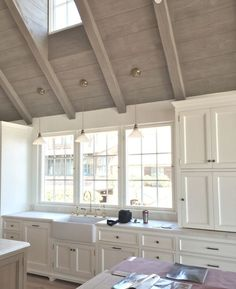 Wood cathedral ceiling for family room love the color Kitchen With High Ceilings, Vaulted Ceiling Kitchen, Vaulted Ceiling Lighting, Grey Ceiling, Colored Ceiling, Wood Ceilings, Ceiling Beams, Vaulted Ceilings, Ceiling Panels