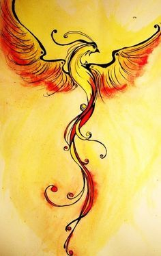 Watercolor Classic Phoenix Tattoo Design