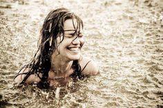 Swim in a summer downpour rainstorm
