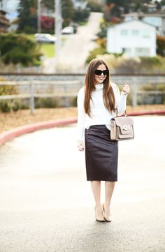 leather pencil skirt, white sweater, and nude shoes