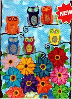 Kerri Ambrosino Art PRINT Mexican folk Art Owls and Gerbera Daisies Rainbow Gerbera, Canvas Art Prints, Fine Art Prints, Framed Canvas, Framed Prints, Reflection Paper, Gerber Daisies, Naive Art, Owl Art
