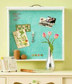 Creative Bulletin Boards to Craft Use old drawers! Home Projects, Craft Projects, Craft Ideas, Creative Bulletin Boards, Do It Yourself Inspiration, Old Drawers, Dresser Drawers, Teal Dresser, Diy Casa