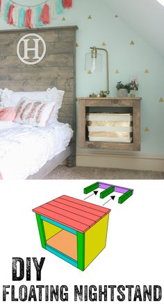 a rustic wooden box floating nightstand will fit any rustic space and can be DIY. - a rustic wooden box floating nightstand will fit any rustic space and can be DIYed - Furniture Projects, Home Projects, Diy Furniture, Home Bedroom, Girls Bedroom, Bedroom Decor, Bedrooms, Bedroom Ideas, Diy Nightstand