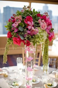 Tall Wedding Centerpiece Pictures on Spring Summer Green Pink Centerpiece Centerpieces Wedding Flowers