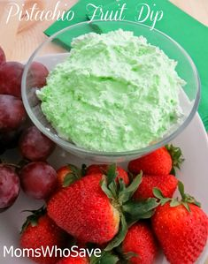 Here's an easy recipe for a delicious fruit dip. Try this light and fluffy pistachio fruit dip with just about any of your favorite fruits. You'll love it anytime, and it's great for a party or potluck. This dip is already light green, but add a dash o Pistachio Dip Recipe, Pistachio Pudding, Dip Recipes, Fruit Recipes, Dessert Recipes, Brunch Recipes, Delicious Fruit, Yummy Snacks, Yummy Treats