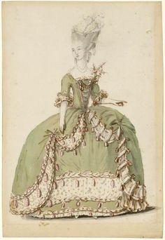 [Figure de mode : dame en habit de cour 1785] | Centre de documentation des musées - Les Arts Décoratifs