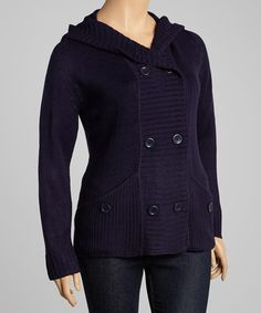 Take a look at this Navy Pocket Hooded Cardigan - Plus by Carol Rose on #zulily today!