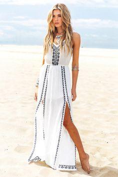 Malahna Tribal Linen Maxi - White